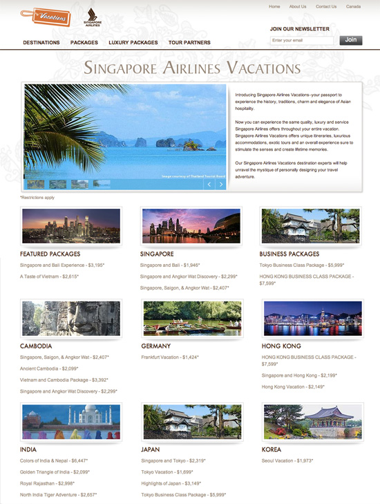 Singapore Airlines Vacations